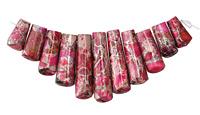 Ruby Pink Impression Jasper & Pyrite Ladder Pendant Set 15-39mm