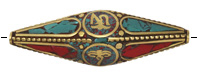 "Tibetan Brass Elongated ""Om"" & ""Wisdom Eyes"" Rice Bead w/ Coral & Turquoise Mosaic 58x15mm"