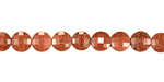Goldstone Faceted Puff Coin 6mm