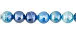 Sky Blue Line Agate w/ Silver Luster Faceted Round 8mm