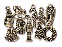 TierraCast Antique Brass (plated) Christmas Charm Set