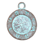 Greek Copper (plated) Patina Ancient Astrology Pendant 35x44mm