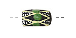 African Handpainted in Green/Cream/White on Black Powder Glass (Krobo) Bead 17-19x11-12mm