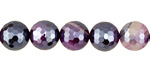 Purple Line Agate w/ Silver Luster Faceted Round 10mm