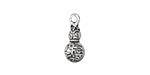 Zola Elements Antique Silver (plated) Etched Double Bulbed Charm 7x16mm
