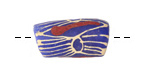 African Handpainted Print in Cream/Red on Blue Powder Glass (Krobo) Bead 23-25x12mm