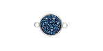 Metallic Indigo Crystal Druzy Coin Link in Silver Finish Bezel 16x11mm