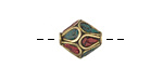 Tibetan Brass Rice Bead w/ Turquoise & Coral Mosaic Petals 11-13x11-13mm