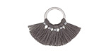 Gray Small Fanned Tassel on Ring w/ Silver Finish 29x19mm