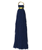 Montana Blue w/ Gold Binding & Jump Ring Thread Tassel 50mm