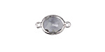 Black Diamond Faceted Crystal in Silver (plated) Textured Bezel Oval Focal Link 18x10mm