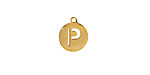 """Gold (plated) Stainless Steel Initial Coin Charm """"P"""" 10x12mm"""