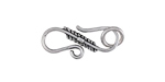 Antique Silver Finish Feathered S-Hook Clasp 24x10mm, 7mm Ring