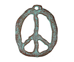 Greek Copper Patina Peace Sign Pendant 27x34mm