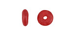 African Recycled Glass Cherry Red Mini Donut 12mm