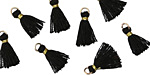 Jet w/ Gold Binding & Jump Ring Tiny Thread Tassel 12mm