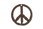 The Lipstick Ranch Rusted Iron Small Peace Pendant 25mm