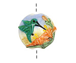 Grace Lampwork Hawaiian Hummingbird Lentil Focal Bead 27-28mm