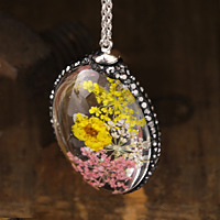 Glass Orb Oval w/ Victorian Mix & Yellow Flowers and Pave Crystals 25x50mm