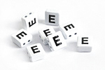 "White Enamel 2-Hole Tile Square Bead w/ Letter ""E"" 8mm"