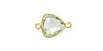 Prasiolite Faceted Triangle Link in Gold Vermeil 18x11mm
