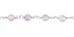 Lavender Amethyst Faceted Round 5mm Silver Finish Bead Chain