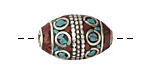 Tibetan White Brass Inlay Rice Bead w/ Coral & Turquoise Mosaic 23-25x16mm
