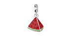 Watermelon Slice Enameled Sterling Silver Charm w/ Bail 11x18mm