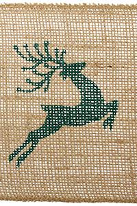 """Green Leaping Reindeer 5.5"""" burlap ribbon"""