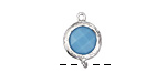 Blue Turquoise Crystal in Silver (plated) Textured Bezel Link 11x17mm