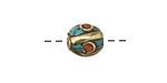 Tibetan Brass Rice Bead w/ Coral Dots & Turquoise Mosaic 13x10mm