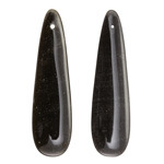 Obsidian Thin Teardrop Pendant Pair 12x45mm