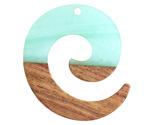 Walnut Wood & Sea Green Pearlescent Resin Koru Focal 36x37mm