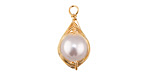 Pearly White Shell Pearl Gold Finish Wire-Wrapped Teardrop Pendant 11-12x21-22mm
