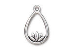 TierraCast Antique Silver (plated) Lotus Teardrop Pendant 17x26mm
