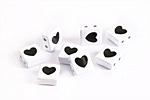 White Enamel 2-Hole Tile Square Bead w/ Heart 8mm