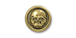 TierraCast Antique Gold (plated) Scary Skull Button 17mm