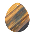 Tiger Eye (matte) Flat Teardrop Pendant 35x42mm