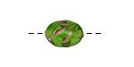 Czech Lampwork Peridot w/ Copper Swirl Oval 14x10-11mm