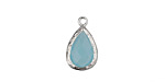 Sea Blue Opal Faceted Crystal in Silver (plated) Textured Bezel Teardrop 10x17mm