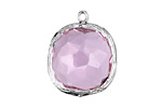 Rose Faceted Crystal in Silver (plated) Textured Bezel Square Pendant 23x26mm