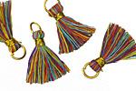 Rainbow w/ Gold Binding & Jump Ring Thread Tassel 18mm