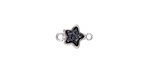 Metallic Jet Crystal Druzy Star Link in Silver Finish Bezel 12x8mm