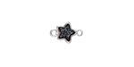Metallic Jet Crystal Druzy Star Link in Silver Finish Bezel 12x8mm