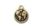 TierraCast Antique Brass (plated) Earth Pendant 16x20mm