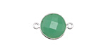 Chrysoprase Faceted Coin Link in Sterling Silver 19-21x13-15mm