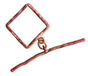 Patricia Healey Copper Large Square Toggle 24x28mm, 56mm bar