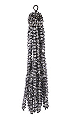 Metallic Antique Silver Crystal Tassel w/ Hematite & Clear Crystal Pave Cap 75mm