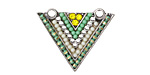 Zola Elements Antique Silver (plated) Spring Green Triangle Pendant 26x20mm