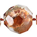 Fire Agate w/ White Faceted Flat Slab 40-44x41-45mm
